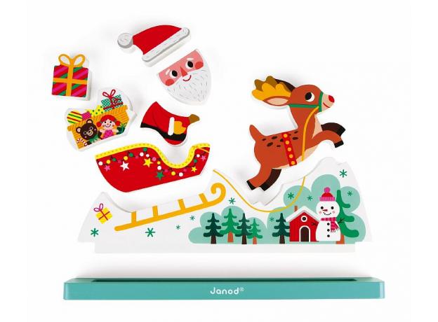 Магнитный пазл вертикальный Janod «Летящий Санта Клаус», фото , изображение 8