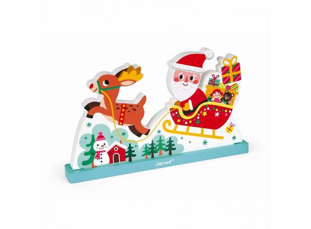 Магнитный пазл вертикальный Janod «Летящий Санта Клаус», фото
