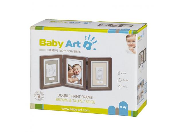 Рамочка тройная Baby Art «Классика»; коричневая, фото , изображение 2