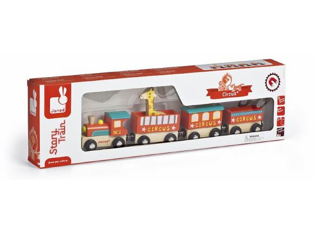 Поезд на магнитах с деревянными фигурками Janod «Цирк», фото , изображение 3