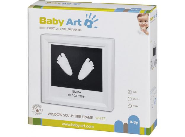 Рамочка с объемными слепками Baby Art белая, фото , изображение 2