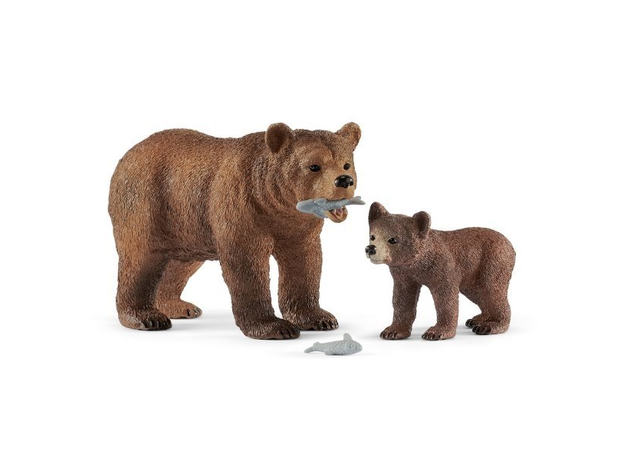 SCHLEICH Медведица гризли с медвежонком 42473, фото