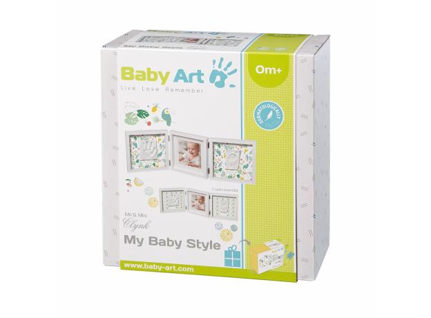 Рамочка тройная «Baby Style» с 2 цветными двусторонними подложками, белая Baby Art, фото , изображение 3