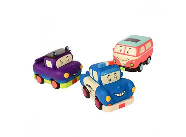 Набор инерционных машинок B.Toys (Battat) «Мадди Майлс, Груви Патутти, Офицер Лоули»: 3 шт., фото