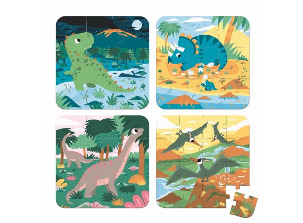 Набор пазлов в прямоугольном чемоданчике Janod «Динозавры»: 4 пазла на 6, 9, 12 и 16 элементов, фото