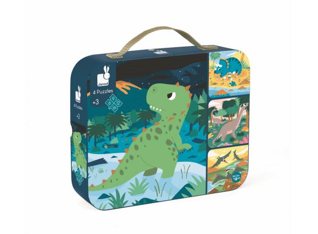 Набор пазлов в прямоугольном чемоданчике Janod «Динозавры»: 4 пазла на 6, 9, 12 и 16 элементов, фото , изображение 2