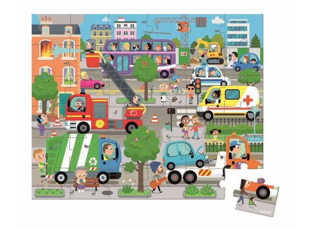 Пазл в прямоугольном чемоданчике Janod «Город»; 36 элементов, фото