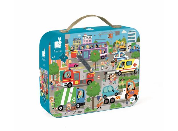 Пазл в прямоугольном чемоданчике Janod «Город»; 36 элементов, фото , изображение 2