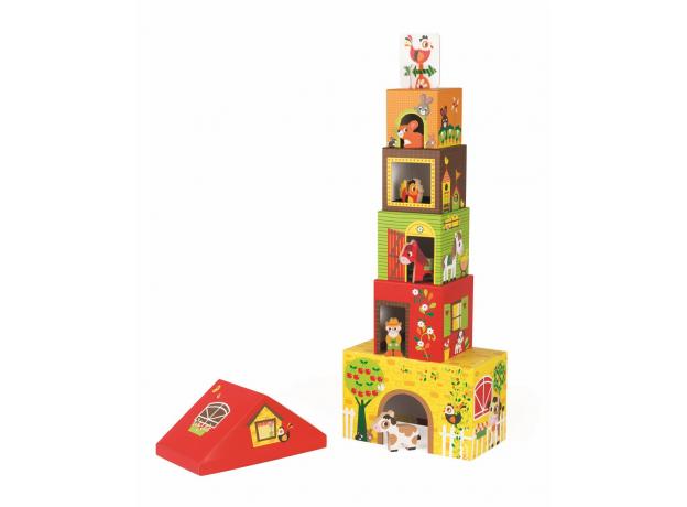 Кубик-пирамидка с деревянными фигурками Janod «Ферма», фото , изображение 7