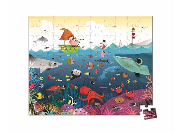 Пазл в прямоугольном чемоданчике Janod «Подводный мир»; 100 элементов, фото