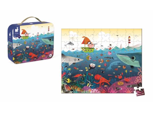 Пазл в прямоугольном чемоданчике Janod «Подводный мир»; 100 элементов, фото , изображение 2
