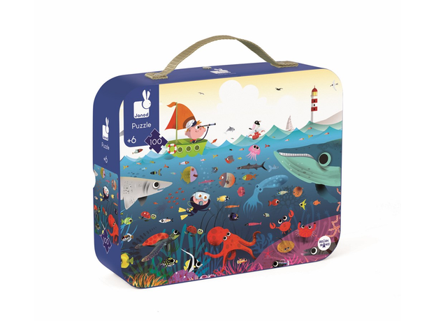 Пазл в прямоугольном чемоданчике Janod «Подводный мир»; 100 элементов, фото , изображение 3