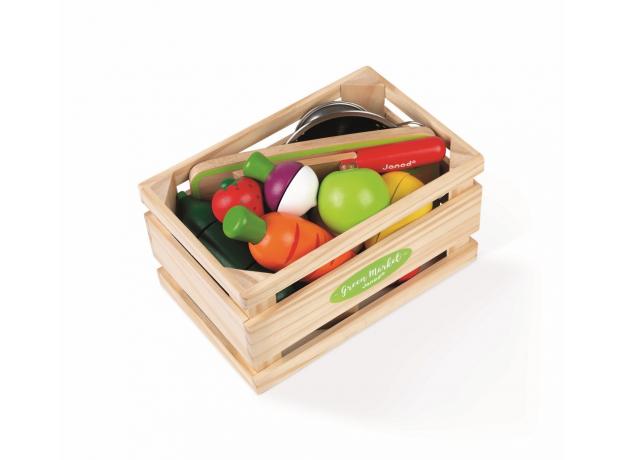 Набор фруктов и овощей с дуршлагом и деревянным ножом в ящике Janod, фото , изображение 2