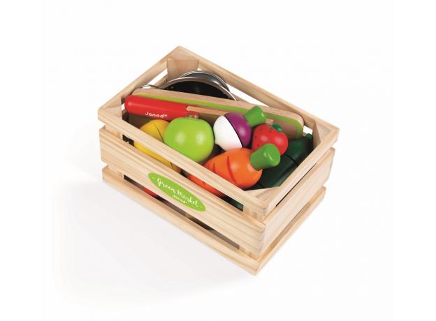 Набор фруктов и овощей с дуршлагом и деревянным ножом в ящике Janod, фото , изображение 3