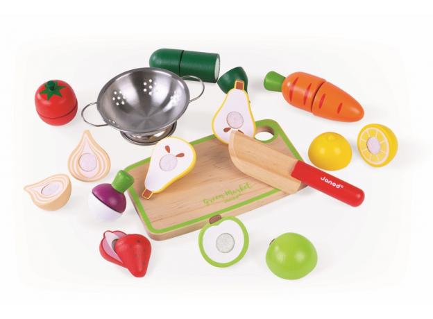 Набор фруктов и овощей с дуршлагом и деревянным ножом в ящике Janod, фото