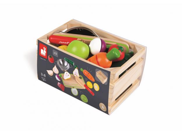 Набор фруктов и овощей с дуршлагом и деревянным ножом в ящике Janod, фото , изображение 4