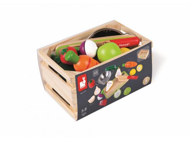 Набор фруктов и овощей с дуршлагом и деревянным ножом в ящике Janod, фото , изображение 5