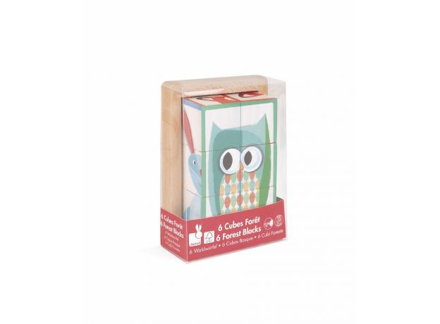Кубики в деревянной коробке Janod «Лесные животные»; 6 элементов, фото , изображение 5