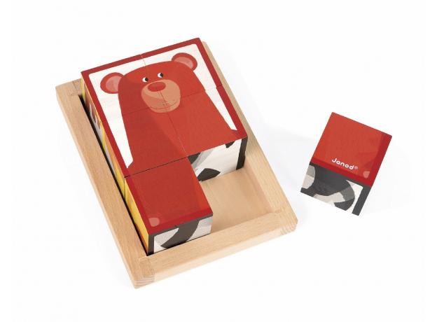 Кубики в деревянной коробке Janod «Лесные животные»; 6 элементов, фото , изображение 6