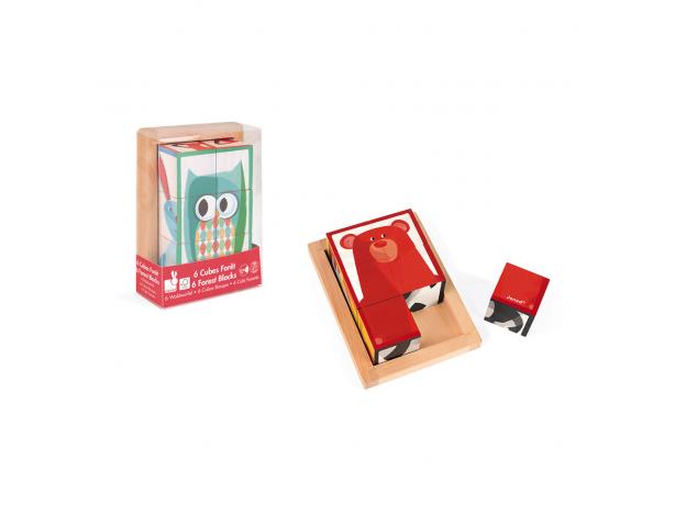 Кубики в деревянной коробке Janod «Лесные животные»; 6 элементов, фото