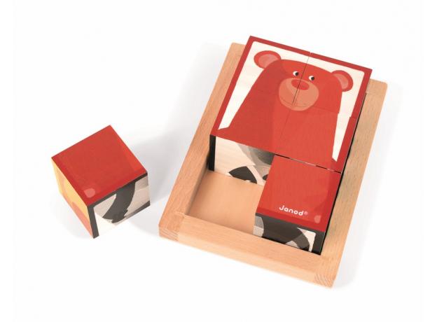 Кубики в деревянной коробке Janod «Лесные животные»; 6 элементов, фото , изображение 7