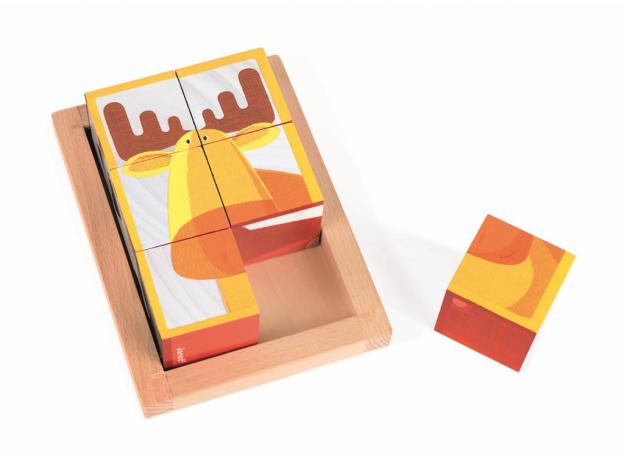 Кубики в деревянной коробке Janod «Лесные животные»; 6 элементов, фото , изображение 8