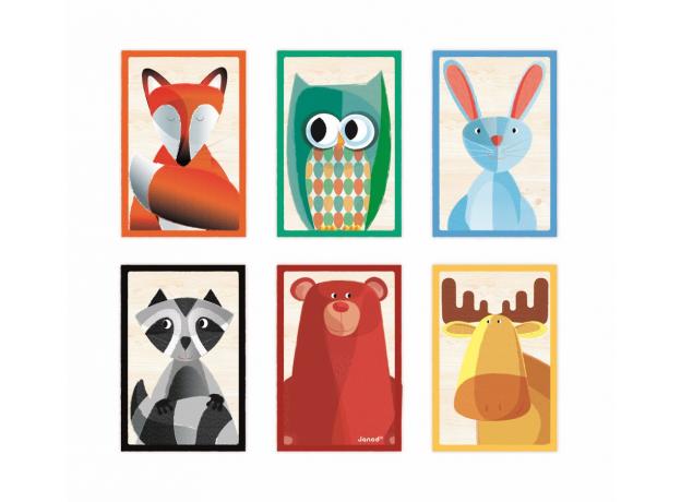 Кубики в деревянной коробке Janod «Лесные животные»; 6 элементов, фото , изображение 2
