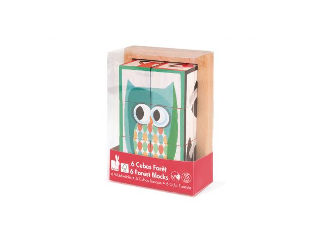 Кубики в деревянной коробке Janod «Лесные животные»; 6 элементов, фото , изображение 9