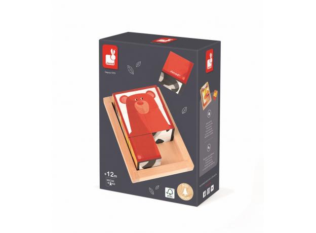 Кубики в деревянной коробке Janod «Лесные животные»; 6 элементов, фото , изображение 11