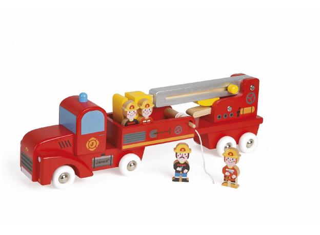 Большая пожарная машина Janod с 4 пожарными, фото , изображение 3