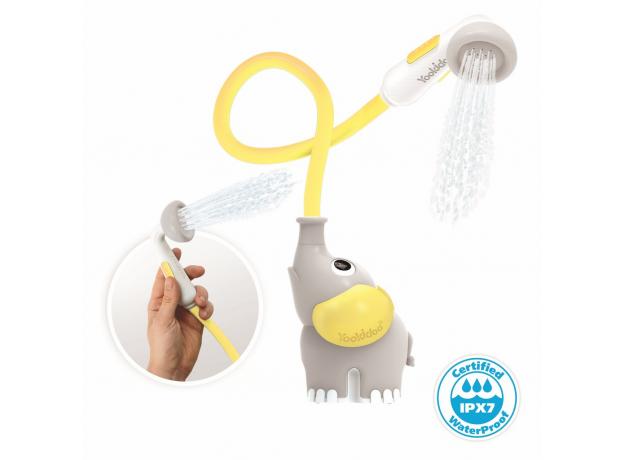Игрушка для ванны Yookidoo душ «Слоненок»; серый с желтым, фото , изображение 2