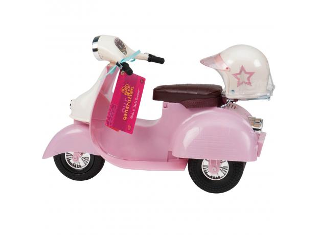 Скутер со шлемом для куклы 46 см; розовый, фото