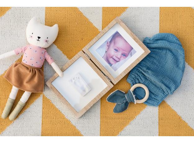 Рамочка двойная Baby Art с отпечатком; беленое дерево, фото
