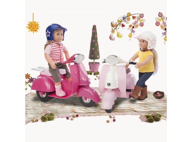 Скутер со шлемом для куклы 46 см; розовый, фото , изображение 4