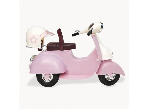 Скутер со шлемом для куклы 46 см; розовый, фото , изображение 2
