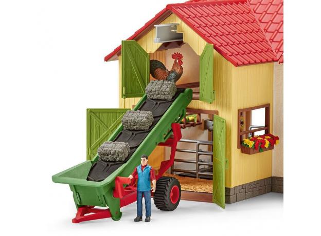 SCHLEICH Фермер и прицеп-конвеер для сена 42377, фото , изображение 3