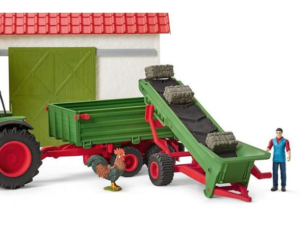 SCHLEICH Фермер и прицеп-конвеер для сена 42377, фото , изображение 5