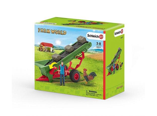 SCHLEICH Фермер и прицеп-конвеер для сена 42377, фото , изображение 6