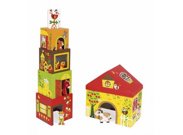 Кубик-пирамидка с деревянными фигурками Janod «Ферма», фото , изображение 9