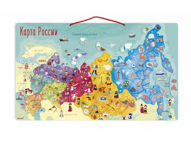 Карта России с магнитными пазлами Janod, 90 элементов, фото