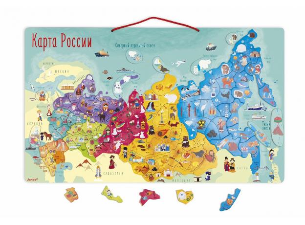Карта России с магнитными пазлами Janod, 90 элементов, фото , изображение 2