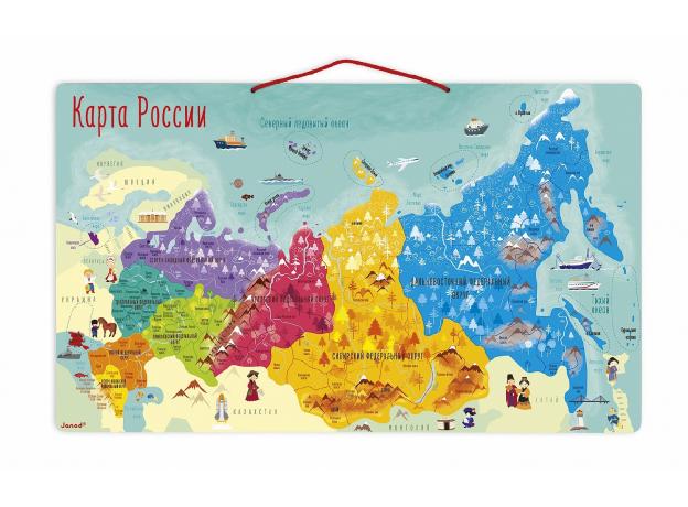 Карта России с магнитными пазлами Janod, 90 элементов, фото , изображение 3
