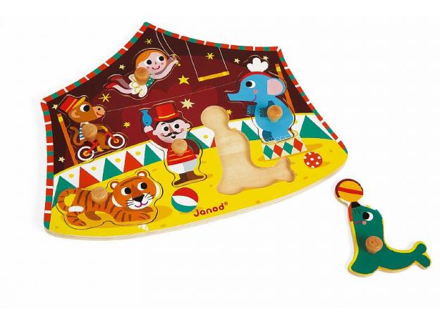 Деревянный пазл-вкладыш Janod «Цирк», 6 элементов, фото