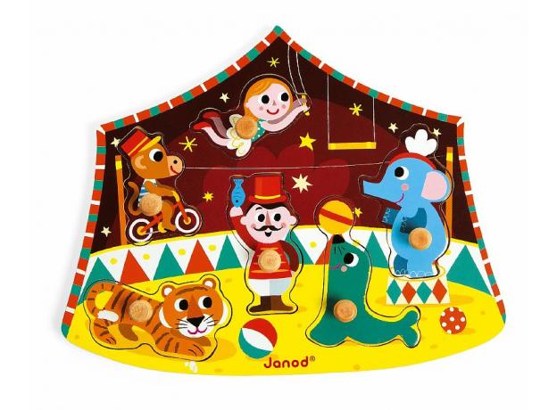 Деревянный пазл-вкладыш Janod «Цирк», 6 элементов, фото , изображение 2