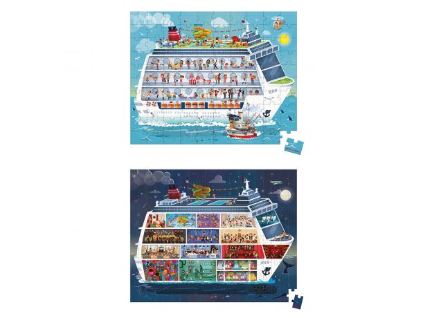 Набор пазлов Janod «Морской круиз» большой в круглом чемодане: 2 пазла, фото