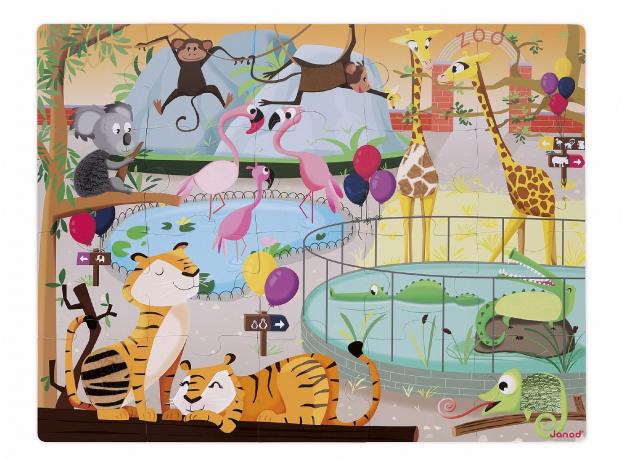Пазл с разными текстурами Janod «День в зоопарке», 20 деталей, фото , изображение 3