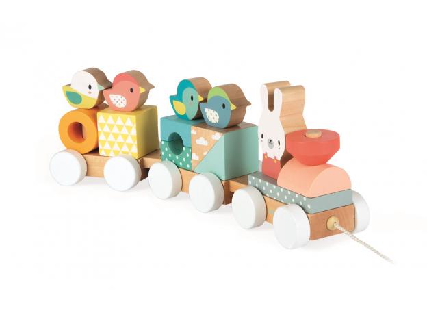 Каталка на веревочке Janod «Поезд с животными»; серия «Скандинавские мотивы», фото , изображение 5