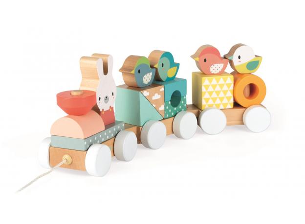 Каталка на веревочке Janod «Поезд с животными»; серия «Скандинавские мотивы», фото , изображение 6