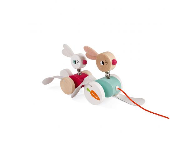 Каталка на веревочке Janod «Зайчики», фото