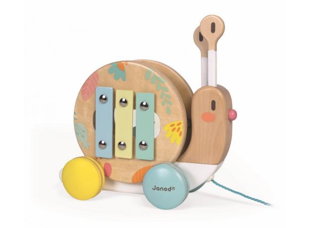 """Каталка на веревочке """"Улитка"""" с ксилофоном и барабаном, фото , изображение 3"""